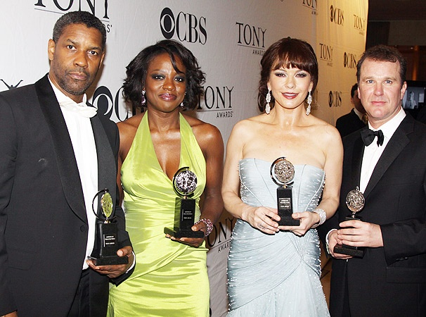 First Look at Denzel, Viola, Catherine and Douglas in the Tony Winners' Circle!