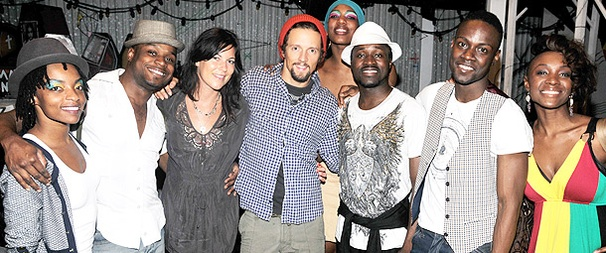 Singer Jason Mraz & New York Jet James Ihedigdo Feel the Beat at Fela!