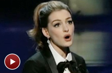 Oscar Host Anne Hathaway Sings 'On My Own' to Hugh Jackman