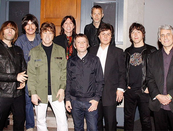 British Broadway Invasion! Liam Gallagher and Beady Eye Check Out Beatles Tribute Rain