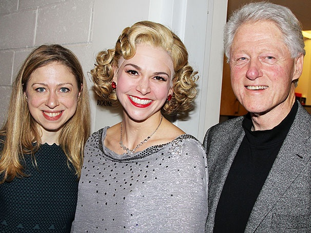 Bill and Chelsea Clinton Pay a Presidential Visit to Sutton Foster and the Cast of Anything Goes