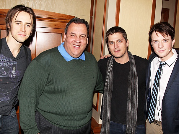 Pop Star Rob Thomas & New Jersey Governor Chris Christie Fly High Backstage at Spider-Man, Turn Off the Dark
