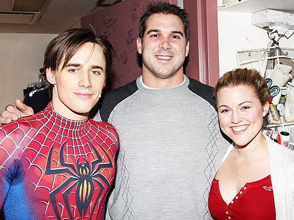 New York Giants Star Zak DeOssie Tackles Reeve Carney & Rebecca Faulkenberry Backstage at Spider-Man