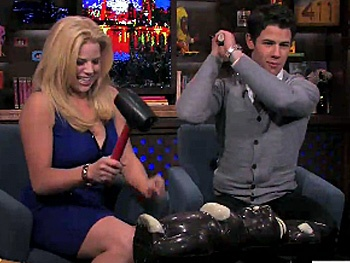 Megan Hilty & Nick Jonas Smash Up a Chocolate Bunny, Cake and More on Watch What Happens Live