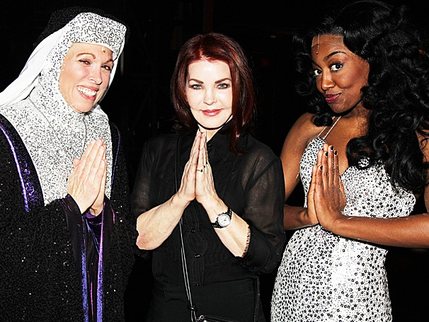 Priscilla Presley Puts Her Hands Together with the Stars of Sister Act