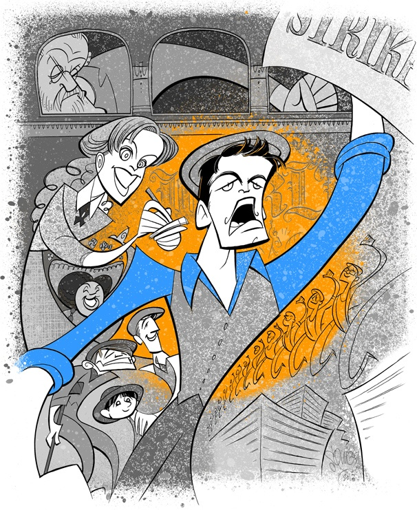 Squigs Makes Headlines with a Portrait of Jeremy Jordan and the Cast of Newsies
