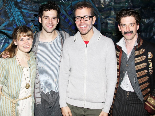 Broadway Fan Perez Hilton Visits the Stars of Peter and the Starcatcher and Avenue Q