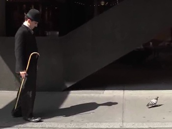 Chaplin Takes Manhattan! Charlie Befriends a Pigeon in New Broadway Promo