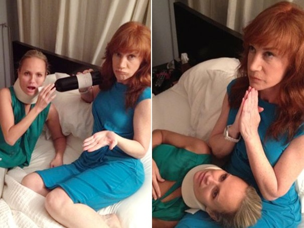 Bottoms Up! Kathy Griffin Nurses Ailing Pal Kristin Chenoweth with Booze in Bed