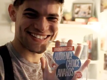 Watch Jeremy Jordan Show Off His Broadway.com Audience Choice Award as the Newsies Cast Shares Fave Fan Gifts