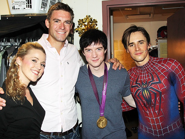 Olympic Rower Pete Reed Shows Off His Gold Medal at Spider-Man, Turn Off the Dark