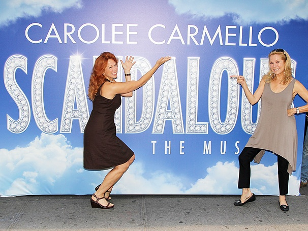 Photo Exclusive! Carolee Carmello and Kathie Lee Gifford Get Busy Putting Up the Scandalous Marquee