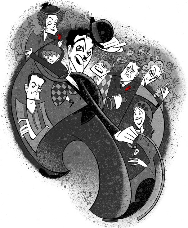 Welcome to Hollywood! Squigs Pens a Silent Film-Era Portrait of Rob McClure & the Cast of Chaplin