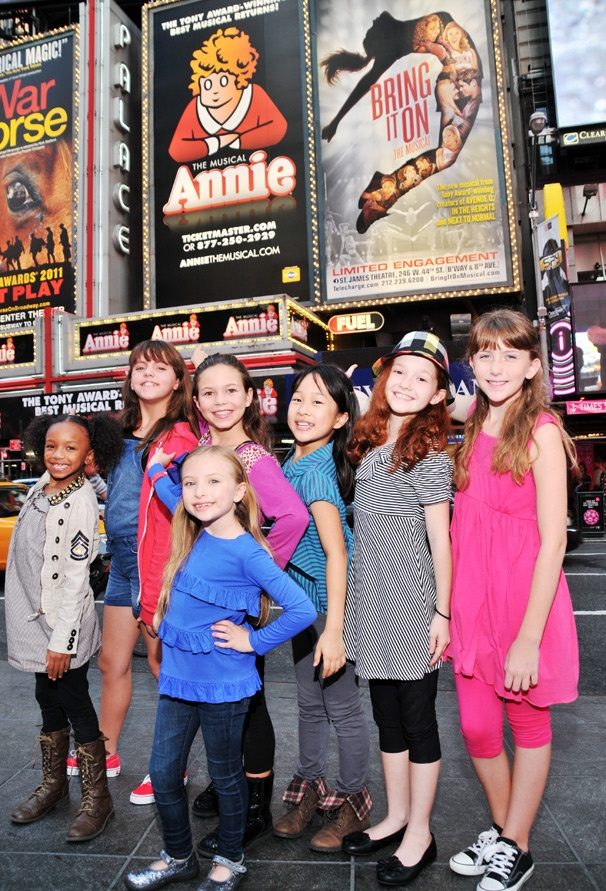 I Think I'm Gonna Like It Here! The Annie Orphans Check Out Their New Marquee in Times Square