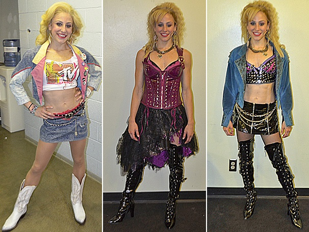 Quick Change! Shannon Mullen Poses In Her Rock n Roll Costumes in Rock of Ages on Tour