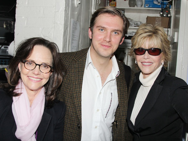 Legends Sally Field & Jane Fonda Cozy Up to Downton Abbey Hunk Dan Stevens Backstage at The Heiress