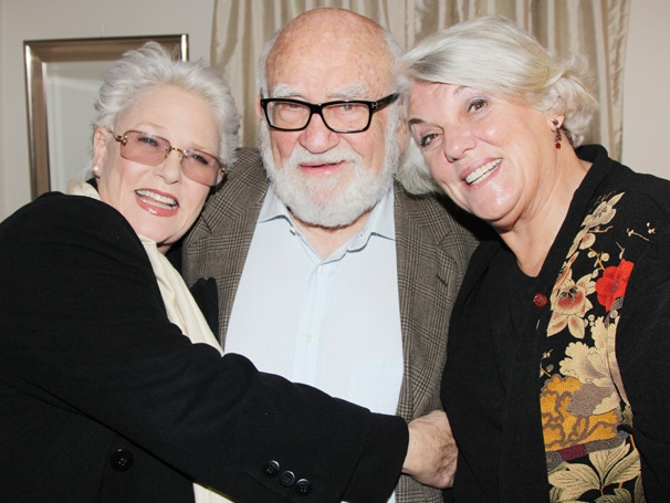 Stars Paul Rudd and Ed Asner Get Cozy with Cagney and Lacey Dames Backstage at Grace