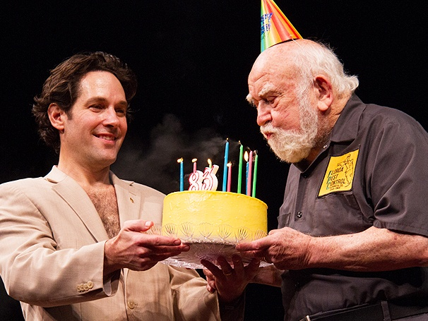 Surprise! Ed Asner Celebrates His 83rd Birthday with Paul Rudd & the Cast of Grace