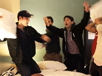 Join Andrew Keenan-Bolger & Corey Cott for a Pillow Fight During the Newsies Guys' Trip to L.A.