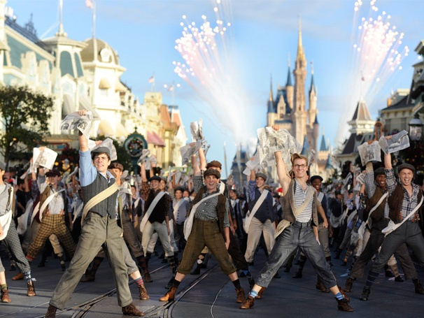 Dancing Fireworks! Corey Cott and the Newsies Carry the Banner at the Disney Parks Christmas Day Parade