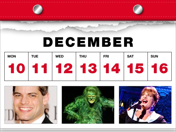 Jeremy Jordan Meets Santa, The Grinch Steals X-Mas & Patti LuPone Goes Solo in This Week's Datebook