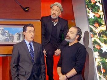 Homeland for the Holidays! Mandy Patinkin Goes Christmas Caroling with Stephen Colbert