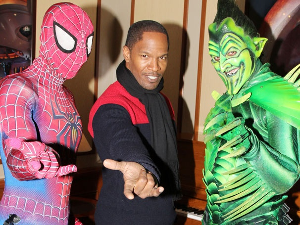 Oscar Winner Jamie Foxx Swings In for a Backstage Visit at Spider-Man, Turn Off the Dark