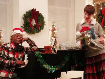 Watch Anne Hathaway and Samuel L. Jackson Go Head to Head in a Funny or Die Holiday 'Sad-Off'