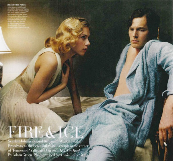 Steamy! Cat on a Hot Tin Roof's Scarlett Johansson & Benjamin Walker Set Vogue Ablaze