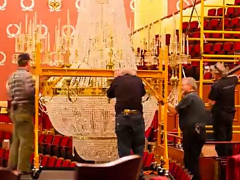 Watch Stagehands Clean the Orpheum Theatre's Two-Ton Chandelier Back to Sparkly Perfection