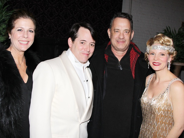 Nice Work Stars Matthew Broderick & Kelli OHara Give Lucky Guy Tom Hanks & Rita Wilson a Backstage Tour