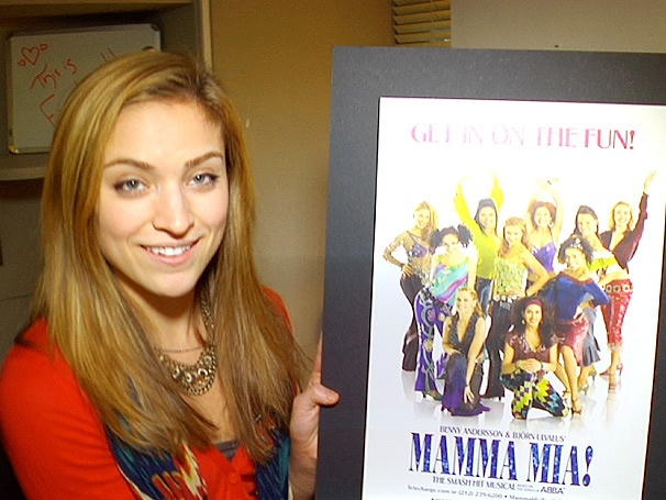 Christy Altomare Shows Off Her Buckets of Candy, Private Shower & Googly-Eyed Buddy Backstage at Mamma Mia!