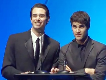 Starkid Reunion! Glee's Darren Criss Shows Off His PJs with Potter Co-Star Joey Richter at the Annie Awards