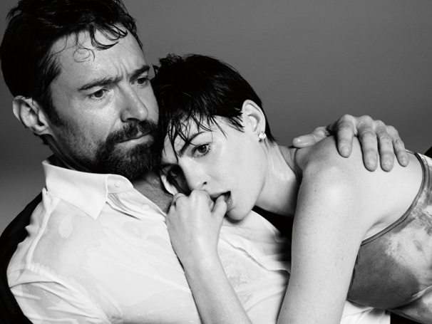 Oscar-Nominated Les Misrables Stars Hugh Jackman & Anne Hathaway Cozy Up for Time 