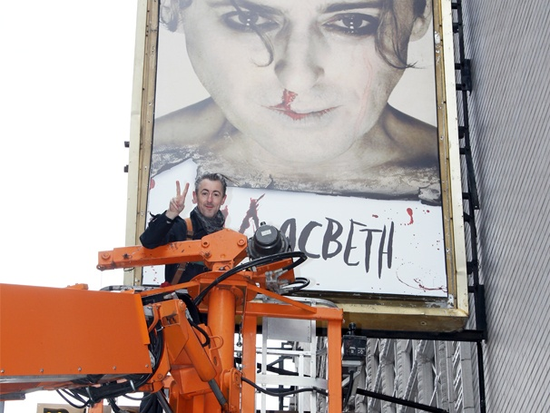 Macbeth Star Alan Cumming Flies High to Unveil His Broadway Marquee