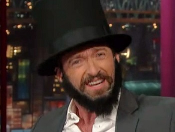 Daniel Day Who? Les Miz Star Hugh Jackman Channels Abe Lincoln to Score Some Last-Minute Oscar Votes