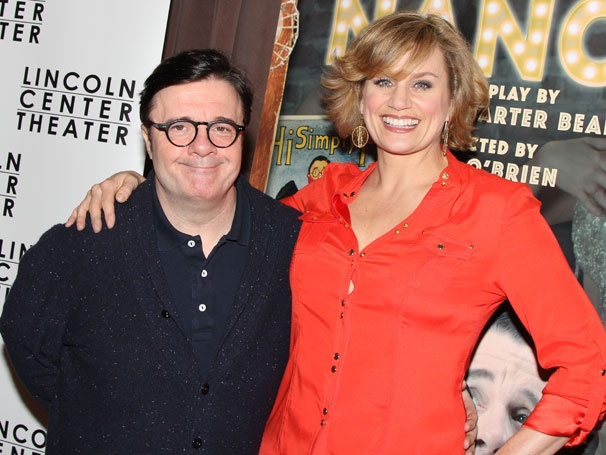 Nathan Lane, Cady Huffman and the Cast of Broadways The Nance Meet the Press