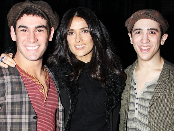 Oscar Nominee Salma Hayek Cozies Up to Two Handsome Newsies, Tommy Bracco & Jess LeProtto