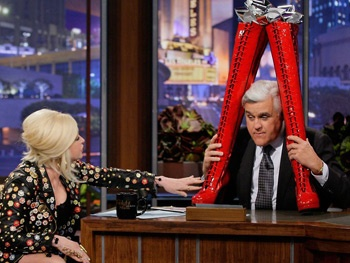 Watch Cyndi Lauper Give Jay Leno His Very Own Pair of Kinky Boots