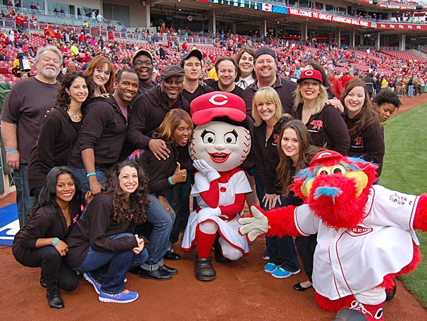 Play Ball! The National Tour Cast of Sister Act Roots for the Home Team at a Cincinnati Reds Game