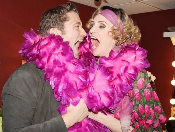 Exclusive! Matthew Morrison Shares a Laugh with Glee Co-Star Jane Lynch Backstage at Annie 