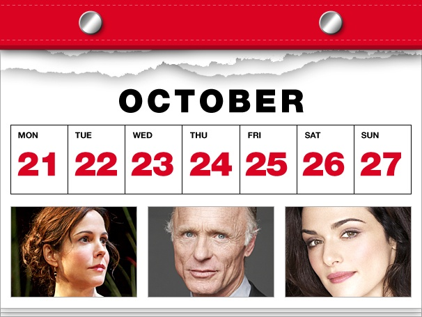 Mary-Louise Parker Lets It Snow, Ed Harris Heads South & Rachel Weisz Cheats on Daniel Craig in This Week's Datebook
