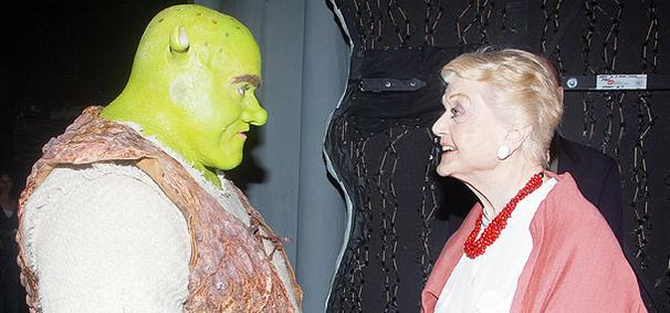 In a Meeting of Legends, Angela Lansbury Visits Shrek the Musical