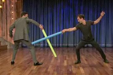 Jude Law Goes Gaga on Late Night with Poetry & Swordplay