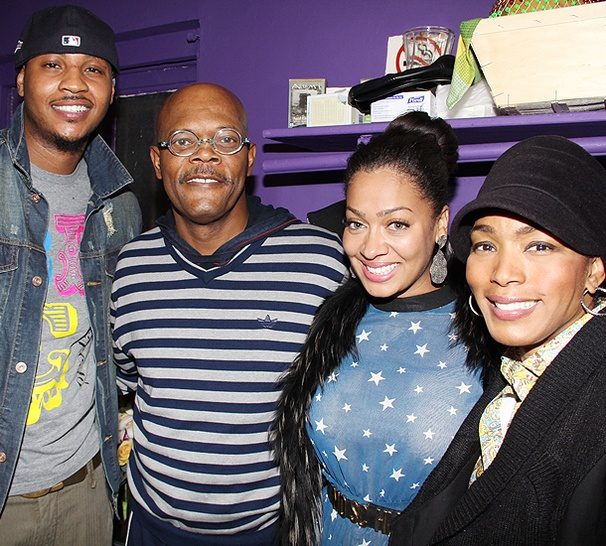 Carmelo and La La Anthony Climb The Mountaintop to Meet Samuel L. Jackson and Angela Bassett