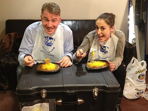 Hot Shot! Addams Family Stars Sara Gettelfinger and Douglas Sills Chow Down on Cincinnati's Famous Chili
