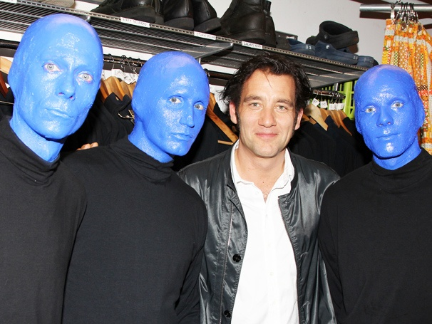 Film Favorite Clive Owen Pals Around With the Stars of Blue Man Group
