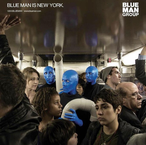 Blue Man Group Takes the Blue Line in New Subway Ad