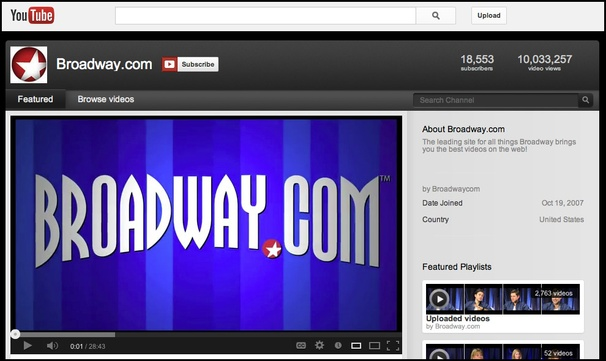 Broadway's Biggest Video Channel Continues to Grow as Broadway.com on YouTube Tops 10 Million Views