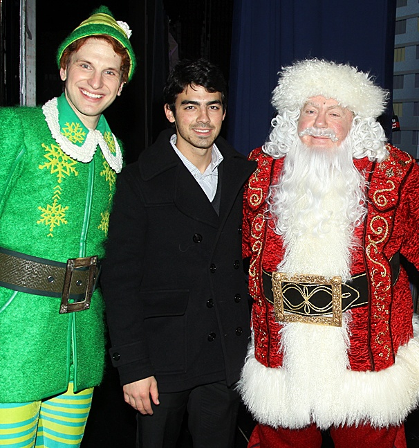 Joe Jonas Rings In the Holiday Season with Buddy the Elf & Santa Claus Backstage on Broadway